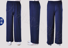 Load image into Gallery viewer, Navy Blue Stretchable Tai Chi Pants Unisex