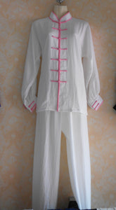 Pink Outerseam White Hemp and Linen Wudang Tai Chi Uniform with Cuffs