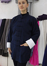 Load image into Gallery viewer, Navy Blue Hemp and Linen Wudang Tai Chi Shirt with White Cuffs for Men and Women