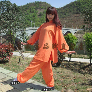 Orange Silk and Linen Wudang Tai Chi Uniform with Cuffs for Men and Women