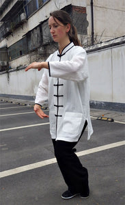Hemp and Linen Wudang Black & White Tai Chi Suit 3/4 Sleeves for Men and Women