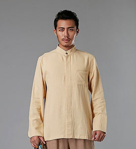 Yellow Commoner Chinese Style Men's Shirt Casual Long-Sleeved