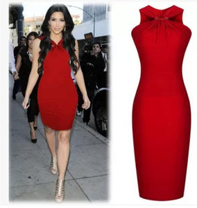 Red Cocktail Party Sleeveless Dress Inspired By Kim Kardashian