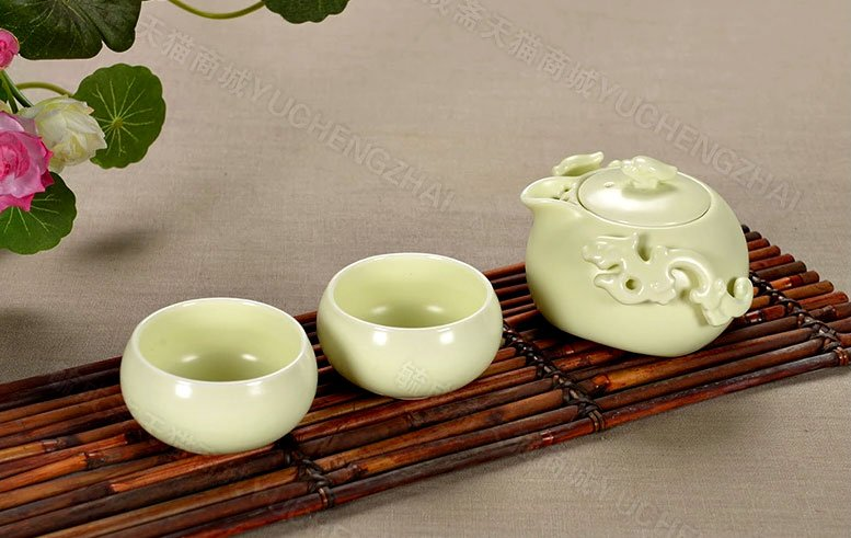 Rustical White Dragon Mini Tea Ceremony Set