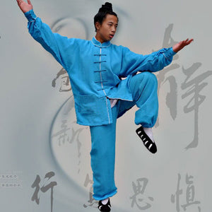 Azure Blue Hemp and Linen Wudang Tai Chi Suit with White Outerseam for Men and Women