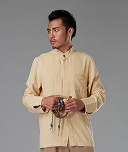 Load image into Gallery viewer, Yellow Commoner Chinese Style Men's Shirt Casual Long-Sleeved
