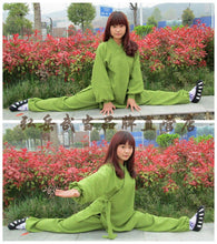 Load image into Gallery viewer, Forest Green Silk and Linen Wudang Tai Chi Uniform with Cuffs for Men and Women