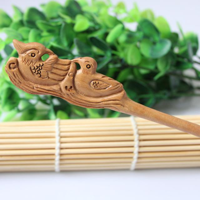 Wudang Taoist Monk Hand Carved Mandarin Duck Hairpin