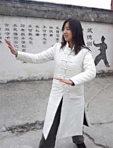 White Natural Cotton Wudang Long Winter Coat with Straight Frog Buttons for Men and Women