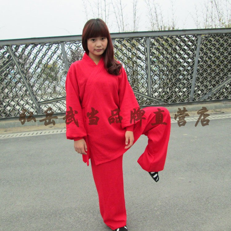 Red Silk and Linen Wudang Tai Chi Uniform with Cuffs for Men and Women