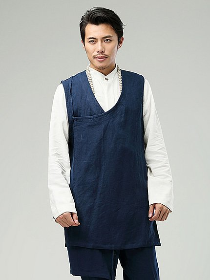 Blue Commoner Chinese Style Men's Vest