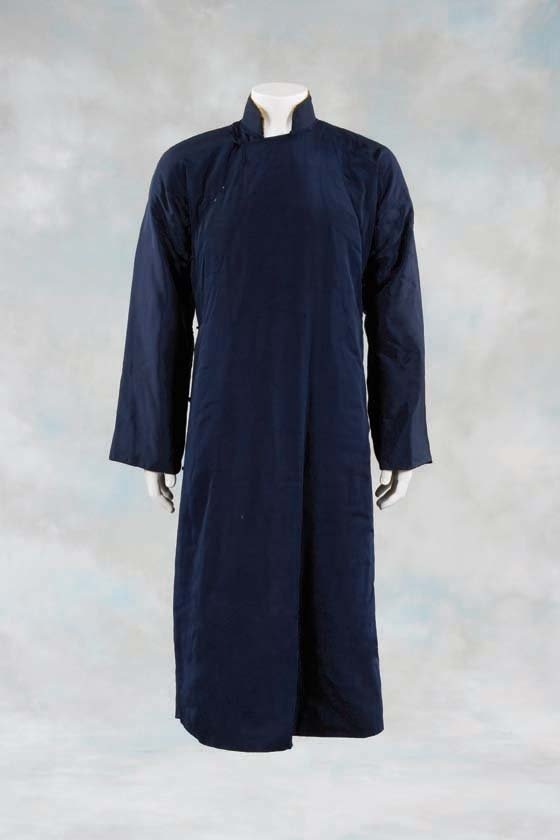 Elegant Navy Blue High Collar Winter Coat in Ip Man Wing Chung Style