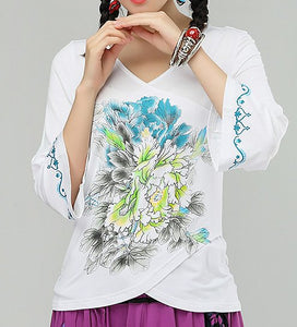Commoner National Wind Ladies V-neck Slim Cotton Printed Short Sleeve Shirt