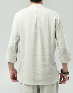 White Commoner Chinese Men Casual Han Chinese 3/4 Sleeve Shirt