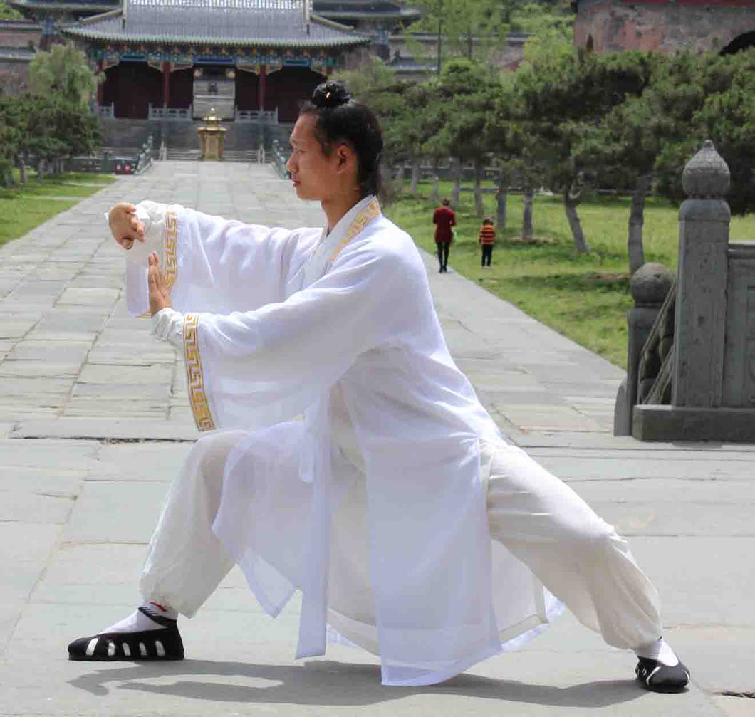 White Chiffon Wudang Taoist Overcoat with Outerseam for Men and Women