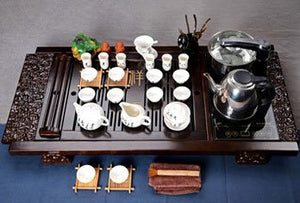 Black & White Traditional Tea Set with Electric Cooker and Pot
