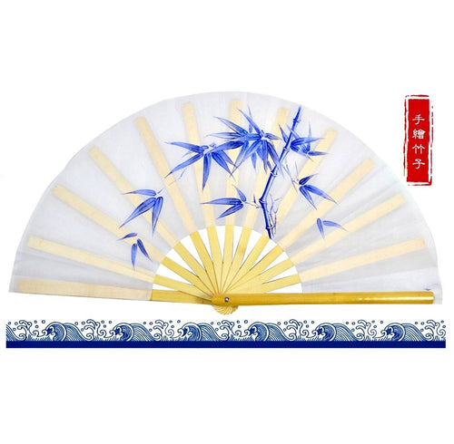 Hand-Painted Tai Chi Fan Bamboo Leaves