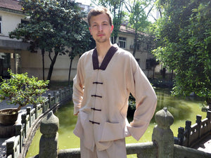 Beige Hemp and Linen Wudang V-Neck Tai Chi Suit with Brown Outerseam for Men and Women