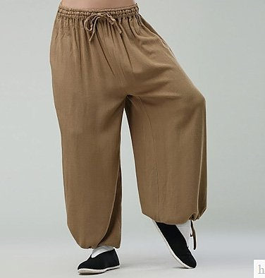 Beige Commoner Chinese Kung Fu Style Cotton Pants