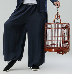 Blue Commoner Chinese Kung Fu Style Cotton Pants