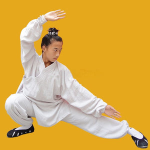 White Traditional Taoist Hemp and Linen Wudang Tai Chi Uniform Closed Cuffs for Men and Women