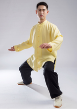 Load image into Gallery viewer, Black & Yellow Hemp and Linen Wudang Small Buttons Tai Chi Clothing with Open Arms for Men and Women