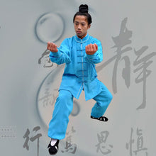 Load image into Gallery viewer, Azure Blue Hemp and Linen Wudang Tai Chi Suit with White Outerseam for Men and Women