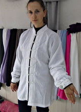 Load image into Gallery viewer, White Hemp and Linen Wudang Tai Chi Shirt with Cuffs and Black Outerlines for Men and Women
