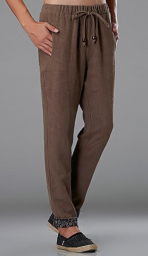 Beige Commoner Wind Cuffs Low-Crotch Carrot Pants