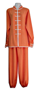 Orange Hemp and Linen Wudang Tai Chi Uniform with Cuffs and White Outerseam