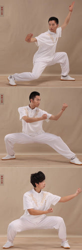 White Short Sleeve Cotton Tai Chi Shirt