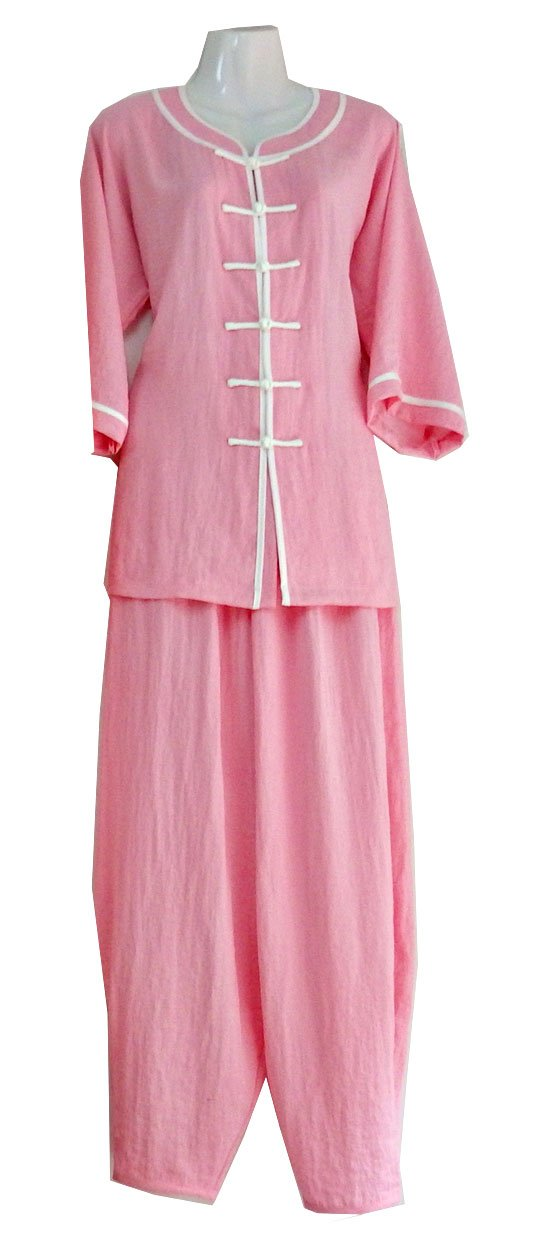 Light Pink Wudang Tai Chi Summer Uniform with White Outerseam and Open Pants