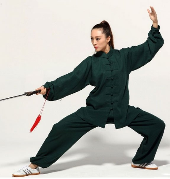 Dark Green Hemp and Linen Wudang Tai Chi Uniform with Cuffs for Men and Women