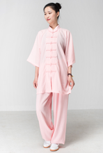 Load image into Gallery viewer, Light Pink Hemp and Linen Wudang Tai Chi Uniform with Short Sleeves for Women