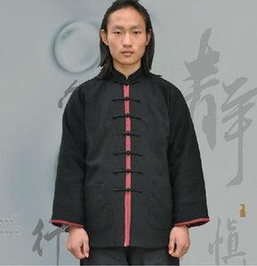 Black Hemp and Linen Wudang Tai Chi Shirt with Red Outerseam for Men and Women
