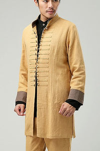 Yellow Commoner Chinese Windbreaker Jacket Cloak