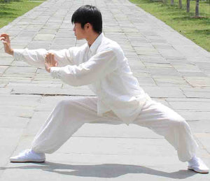 White Hemp and Linen Wudang Tai Chi Uniform with Cuffs for Men and Women