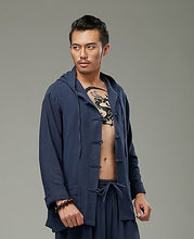 Load image into Gallery viewer, Blue Chinese Pankou Hooded Chinese Style Men's Jacket