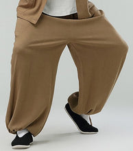 Load image into Gallery viewer, Beige Commoner Chinese Kung Fu Style Cotton Pants