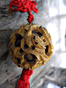 Hand Carved Ball in Ball Dragon Tassel