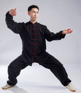 Red Outerseam Black Hemp and Linen Wudang Tai Chi Clothing with Cuffs