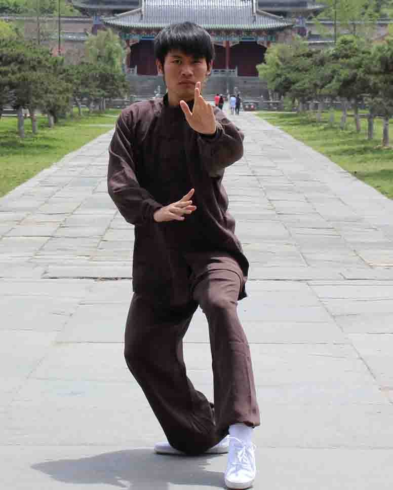 Brown Hemp and Linen Wudang Tai Chi Uniform with Cuffs for Men and Women