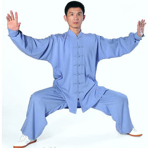 Light Blue Hemp and Linen Wudang Tai Chi Uniform with Cuffs for Men and Women