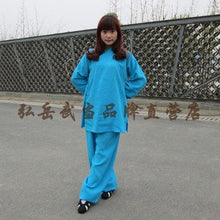 Load image into Gallery viewer, Azure Blue Hemp and Linen Wudang Tai Chi Uniform Open Sleeves for Men and Women