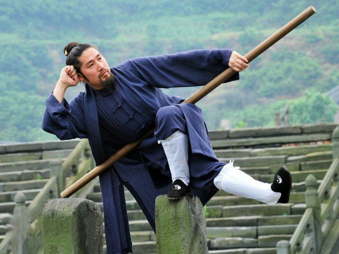Blue Wudang Taoist Uniform and Sleeveless Overcoat Custom Made for Men and Women