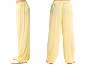 Yellow Tai Chi Pants Silk and Linen for Men and Women