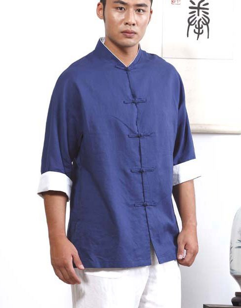 Marine Blue Hemp and Linen Wudang Tai Chi Shirt with White 3/4 Cuffs and Double Layerd Collar for Men and Women