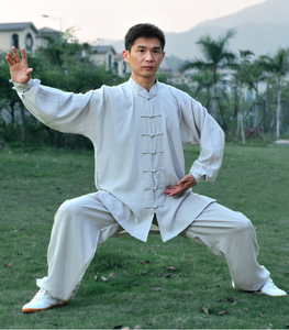 Off White Hemp and Linen Wudang Tai Chi Uniform with Cuffs for Men and Women