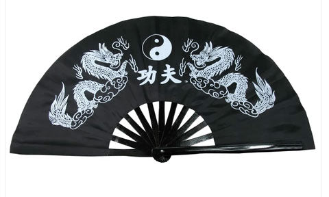 Tai Chi Fan Yin-Yang Dragon Black