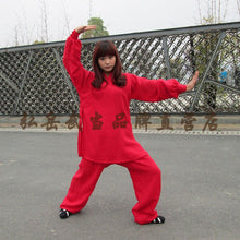 Load image into Gallery viewer, Red Silk and Linen Wudang Tai Chi Uniform with Cuffs for Men and Women